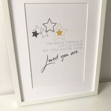 Twinkle twinkle little star (A4 grey and yellow)
